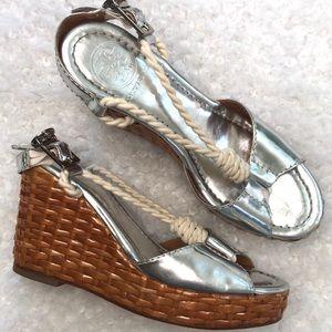 Tory Burch Lacquered Raffia Rope Slingback Sandal